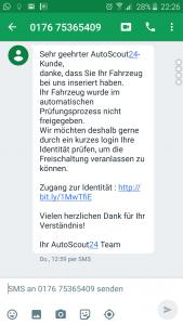 gefälschte SMS von Autoscout24 mit Phishing Link