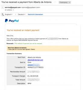 Betrügerische PayPal Zahlung