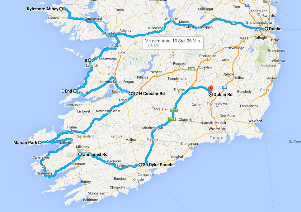 Irland 2014 Route