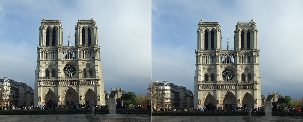 Paris Notre Dame - links: original - rechts: stürzende Linien korrigiert